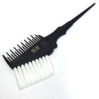 Кисть-расчёска для окрашивания волос DenIS professional с белой щетиной - чёрная 134, фото 1