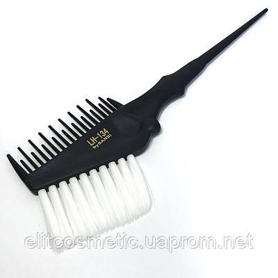 Кисть-расчёска для окрашивания волос DenIS professional с белой щетиной - чёрная 134