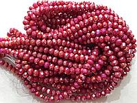 Бусины на нитке Стекло рондель d=6мм цвет рубиновый с переливом (~100 бусин на на нитке)