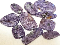 Кабошон из натурального природного камня Чароит (цена за грамм)