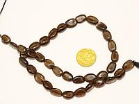 Бусины на нитке натуральный камень Раухтопаз овал L=31см