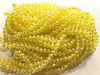 Бусины на нитке Стекло рондель d=6мм цвет желтый с переливом (~100 бусин на на нитке)