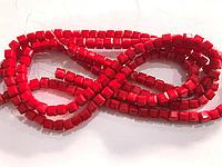 Бусины на нитке Стекло кубики 8мм цвет красный матовый (~100 бусин на нитке)