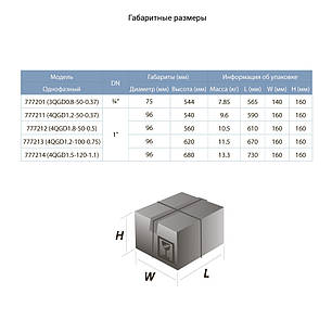 Насос шнековый скважинный 1.1кВт H 190(116)м Q 45(25)л/мин Ø96мм (нерж) AQUATICA (DONGYIN) (777214), фото 2