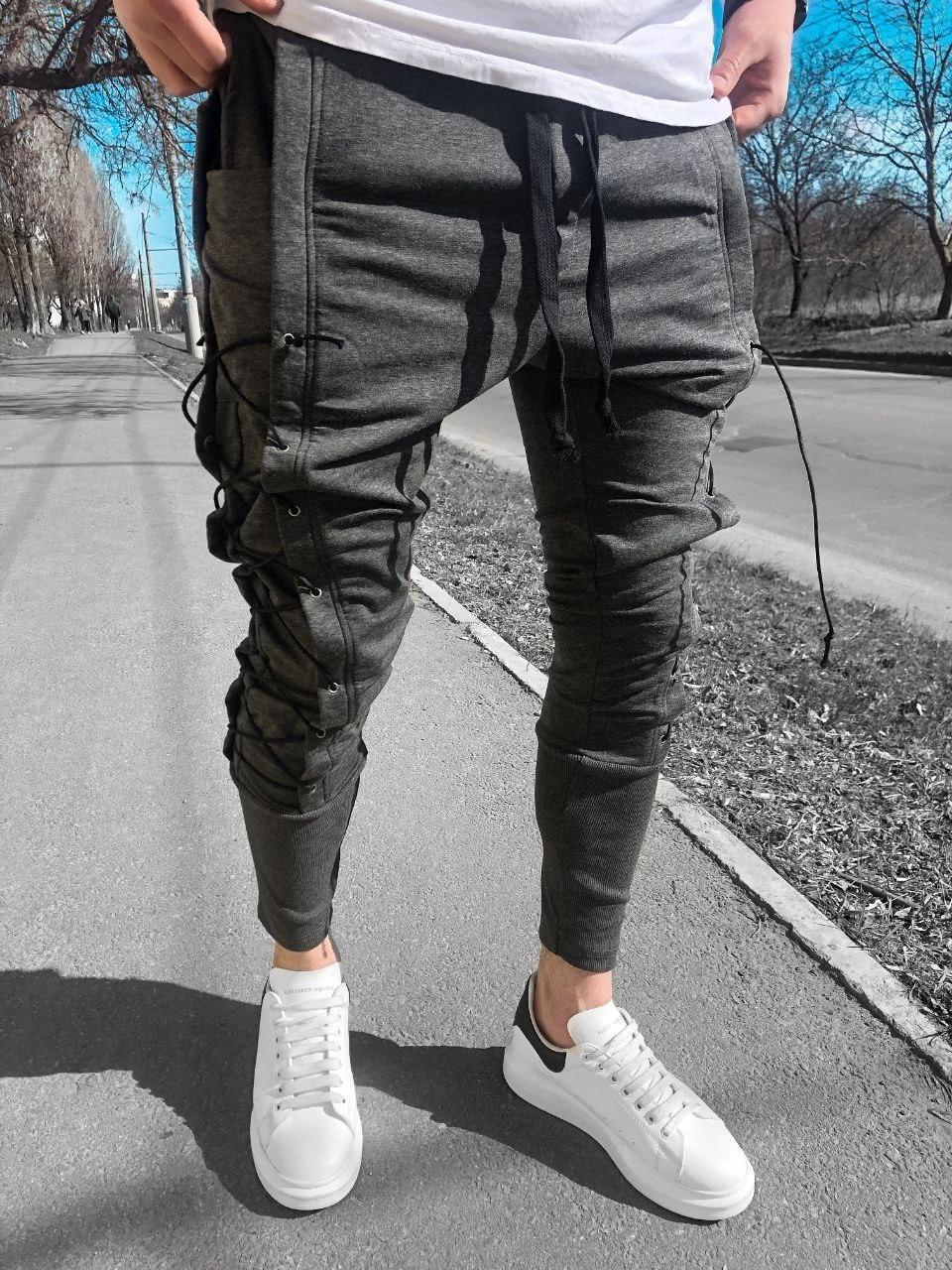 Спортивные штаны - Мужские штаны на каждый день серые