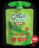 GoGo SqueeZ Organic AppleStrawberry, Органическое яблочно - клубничное пюре, 1 пакетика 3,2 унц. (90 г)