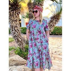 Летнее длинное платье с карманами из натуральной ткани
