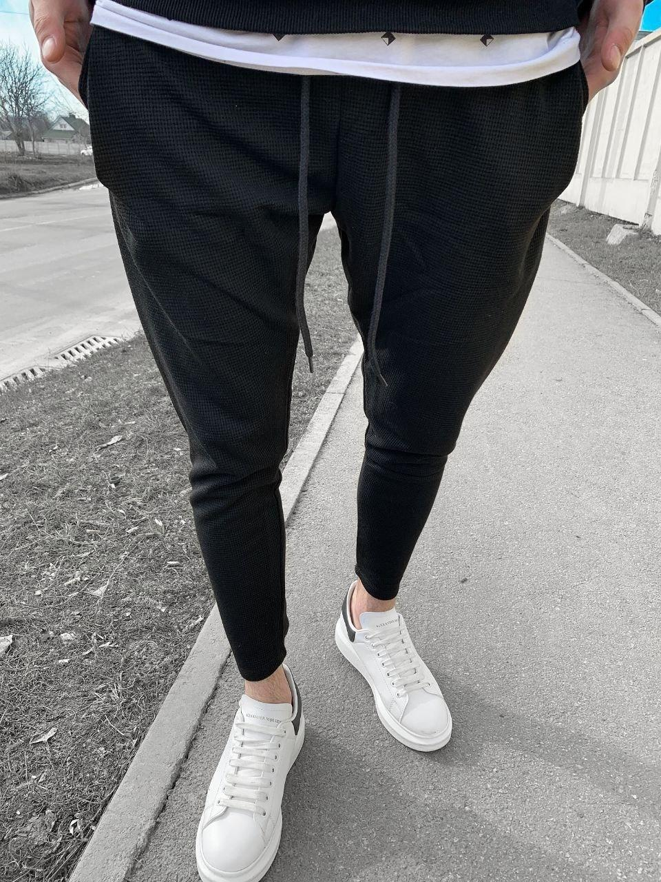 😜Спортивні штани - чоловічі штани-спортивки чорного кольору