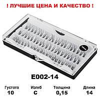 Пучковые ресницы в кейсе 10D, 14 мм, С, 0,15, 60 пучков