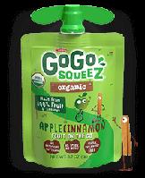 GoGo SqueeZ AppleCinnamon, Органическое яблочное пюре с корицей, 1 пакетика 3,2 унц. (90 г)