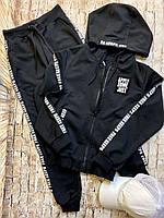 Детский спортивный черный костюм на молнии с капюшоном