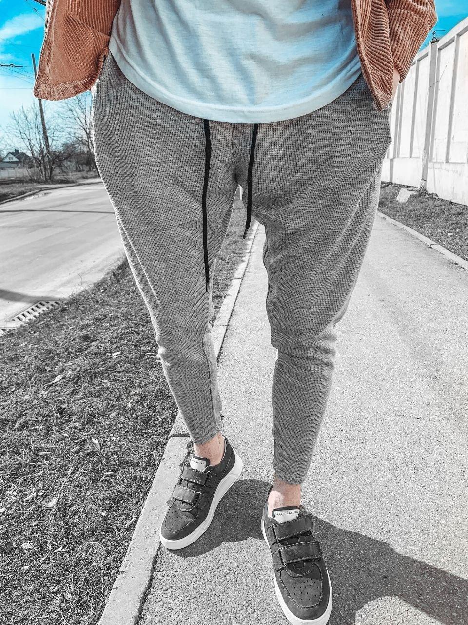 😜Спортивные штаны - Мужские штаны-спортивки светло-серого цвета