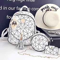 Модный маленький белый рюкзак для девушек Евангелина набор 3 в 1 с сумочкой, визитницей и брелком  2026