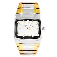Часы наручные мужские на браслете GOLDLIS 1126 квадрат., комби