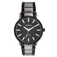 Часы наручные мужские на браслете GOLDLIS 1111G титан-black, кварц