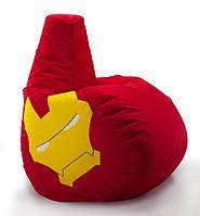 Кресло мешок груша Железный Человек 100*140 см Красный