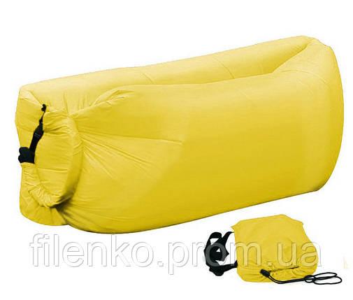 Надувний шезлонг Ламзак, биван, матрац Колір Жовтий, фото 2