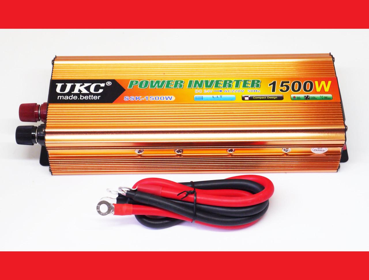 Інвертор UKC 1500W 24V Перетворювач струму AC/DC Gold
