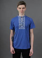 """Чоловіча футболка - вишиванка """"Витязь"""", тканина трикотаж, розміри 44,46,52,54 джинс з синім та сірим"""