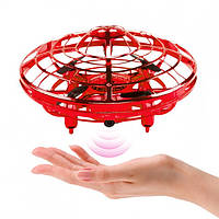 "Квадрокоптер мини ""Летающая тарелка"" UFO с Led подсветкой анти столкновение НЛО  Красный"