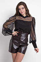Женская блузка с пышными рукавами-фонариками присобранными на высокие манжеты черного цвета
