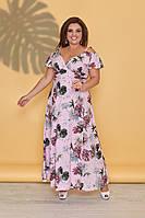 Летние платья сарафаны больших размеров Нежно-розовый принт цветы