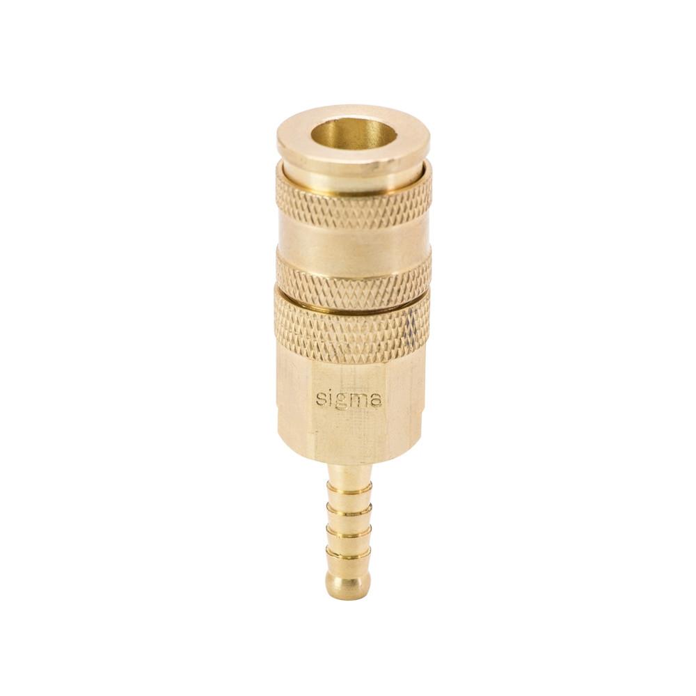 Соединение быстросъемное усиленное с фиксатором для шланга 6мм (латунь) Sigma (7021671)