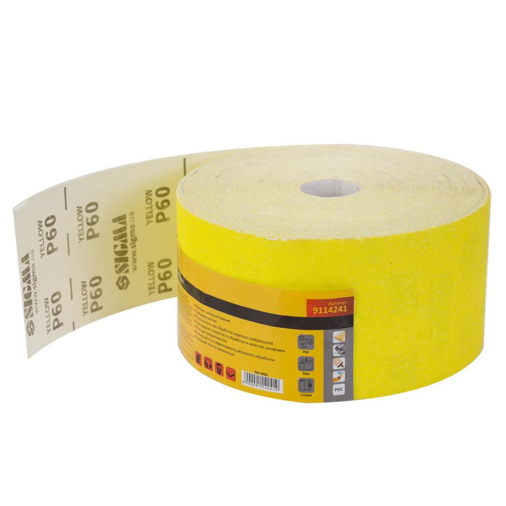 Шлифовальная бумага рулон 115мм×50м P60 SIGMA (9114241)