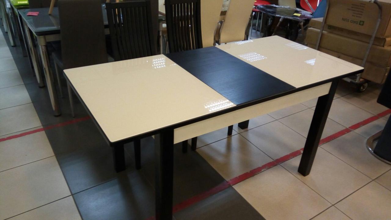 Стол Фишер венге/стекло ваниль (RAL 1013) 120(+40)*75