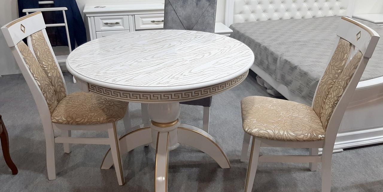Стол обеденный Престиж Микс мебель, цвет  белый + патина