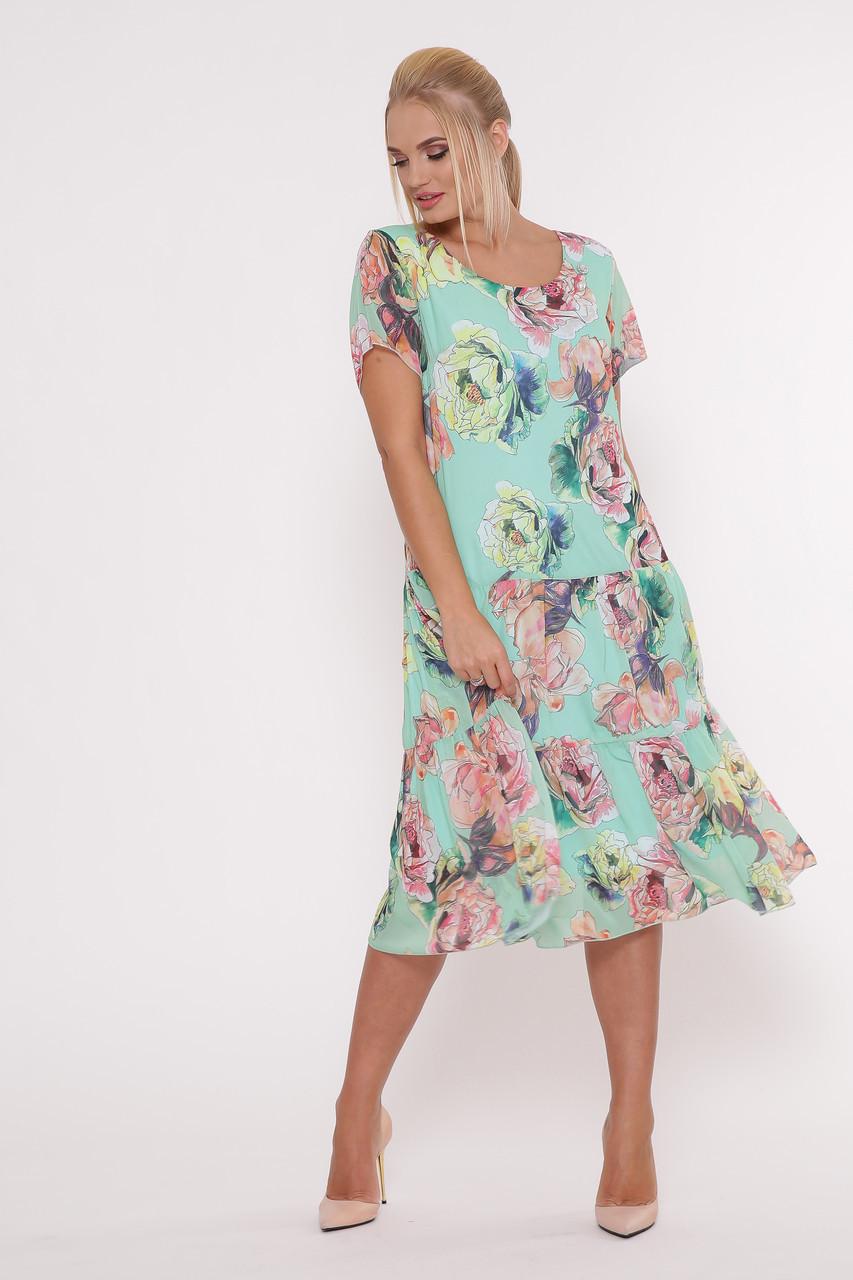 Плаття літнє нежарке вільного крою великі розміри, розмір 52-58