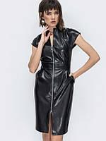 Платье черного цвета из искусственной кожи на молнии, платье эффектное без рукавов, фото 1