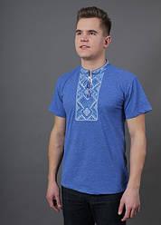 """Чоловіча футболка - вишиванка """"Витязь"""", тканина трикотаж, розміри 44,46,48,54,56 джинс з синім"""