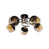Люстра потолочная на пять чайных плафонов с черным напылением SR 3801-5