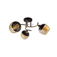 Люстра потолочная на три чайных плафона с черным напылением SR 3801-3