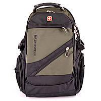 Рюкзак городской Swissgear 8810 Original Pro с дождевиком USB AUX Черный + Хаки + Подарок Нож Кредитка