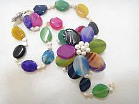 Колье с натуральным камнем Агат разноцветный и жемчугом Цветок