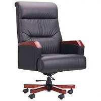 Кресло руководителя Рональд кожа люкс коричневая, черная