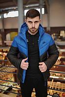 Синий с Чёрным Зимняя Куртка  Найк, Nike, теплая куртка.