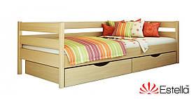 """Односпальне ліжко """"Нота"""" з бука (щит, масив)"""