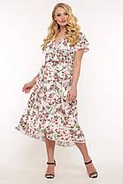 Платье длинное в цветочек большого размера с принтом, размер 52-58, фото 3