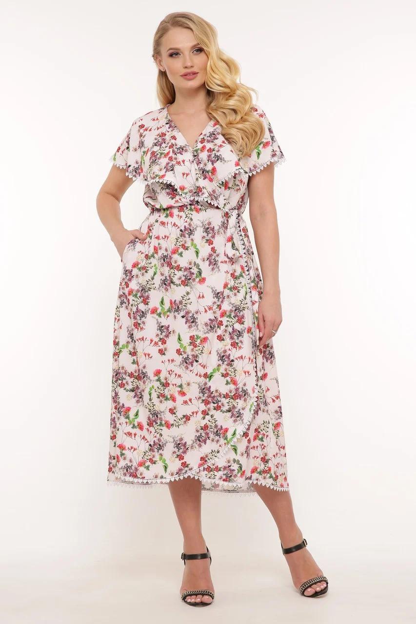 Платье длинное в цветочек большого размера с принтом, размер 52-58