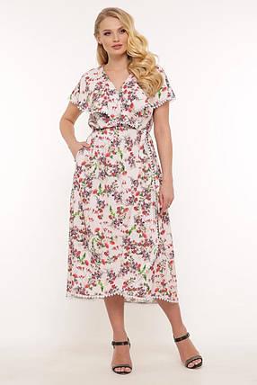Платье длинное в цветочек большого размера с принтом, размер 52-58, фото 2