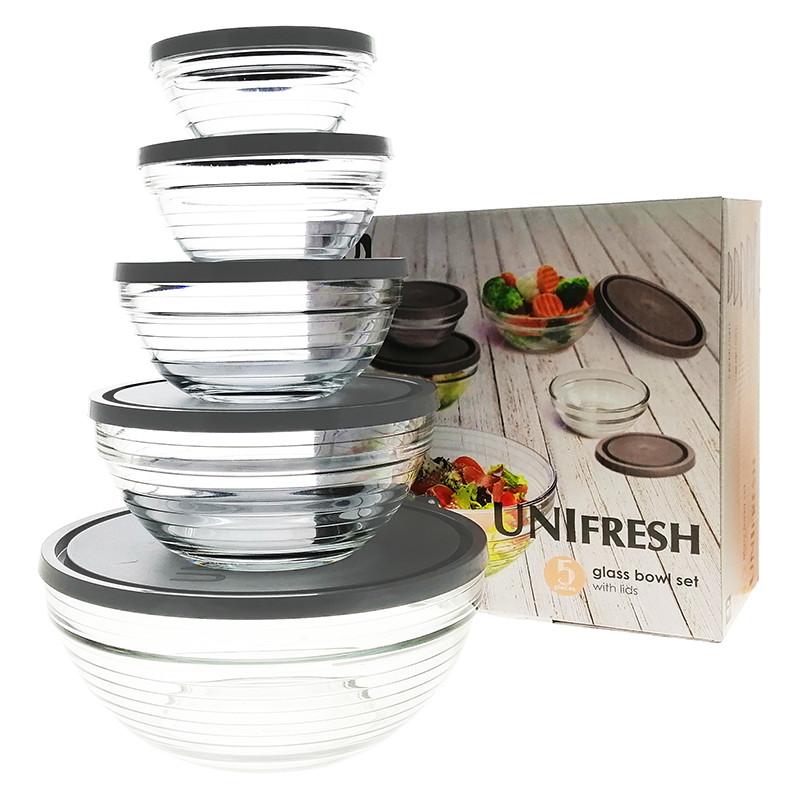 Набор салатников стеклянных с крышками UniGlass UNIFresh 5шт