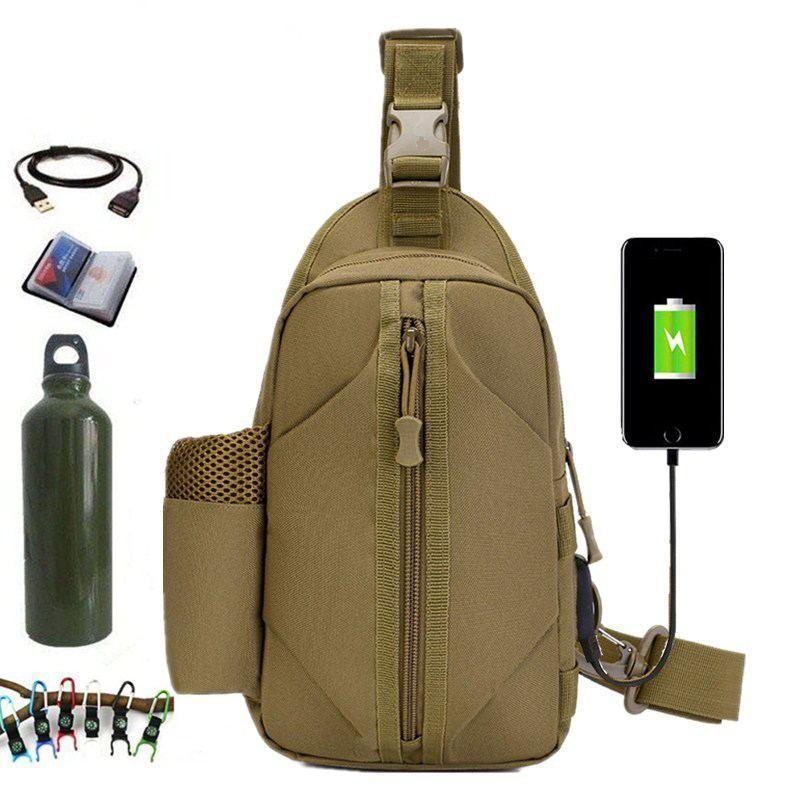 Тактическая сумка-рюкзак, барсетка, бананка на одной лямке. Койот. T-Bag 447