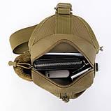Тактическая сумка-рюкзак, барсетка, бананка на одной лямке. Койот. T-Bag 447, фото 6