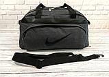 Не промокаемая сумка найк, Nike для спортазала и путешествий. Коттон. Темно-серая, фото 3