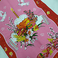Готовое хлопковое полотенце с пасхальным натюрмортом и голубями на розовом 45х60 см, фото 1