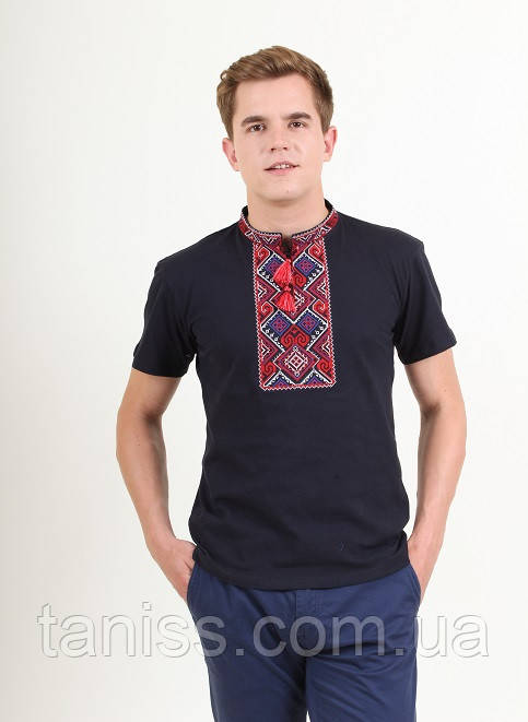 "Мужская футболка - вышиванка ""Витязь"", ткань трикотаж, размеры 44,46,48,50,52,54 т.синяя с красным"