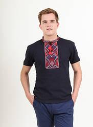 """Чоловіча,футболка ошатна """"Витязь"""",тканина лакоста, розміри 42,44,46,48,50,52(046) т. синя з червоним"""